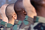 A view of shaved United States Army soldiers' heads. The soldiers receiving training at Ft. Leonard Wood, MO. Image by © Leif Skoogfors/CORBIS