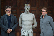 """Mark Wallinger with Kate Allen - Director of Amnesty International UK, helped by Canon Mark Oakley (Chancellor of St Paul's Cathedral), installs Mark Wallinger's 'Ecce Homo' statue at St Paul's Cathedral. The life-size sculpture shows the figure of Jesus Christ and was the first artwork to be shown on Trafalgar Square's fourth plinth in 1999.Mark Wallinger, who won the Turner Prize in 2007, said: """"This vulnerable figure will stand at the top of the steps outside the entrance to St Paul's Cathedral as we approach Easter to highlight the plight of people around the world who are imprisoned and whose lives are threatened for speaking the truth, and for what they believe."""""""
