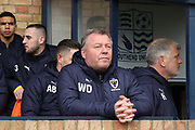 AFC Wimbledon manager Wally Downes prior to kick off during the EFL Sky Bet League 1 match between Southend United and AFC Wimbledon at Roots Hall, Southend, England on 16 March 2019.