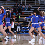 Member of Philadelphia 76ers Dance Team performs in the third quarter of a NBA D-league regular season basketball game between the Delaware 87ers and the Grand Rapids Drive (Detroit Pistons) Saturday, Apr. 04, 2015 at The Bob Carpenter Sports Convocation Center in Newark, DEL.