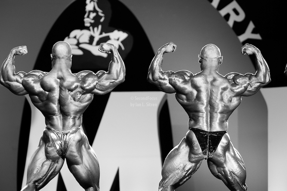 Phil Heath and Branch Warren at the 2010 Mr. Olympia finals in Las Vegas.