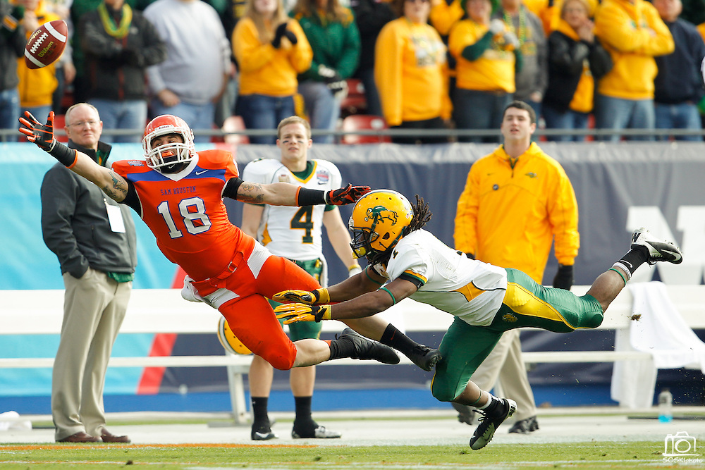 Sam Houston State Bearkats wide receiver Trey Diller (18) reaches out for a diving catch during the FCS title game against North Dakota State at FC Dallas Stadium in Frisco, Texas, on January 5, 2013.  (Stan Olszewski/The Dallas Morning News)