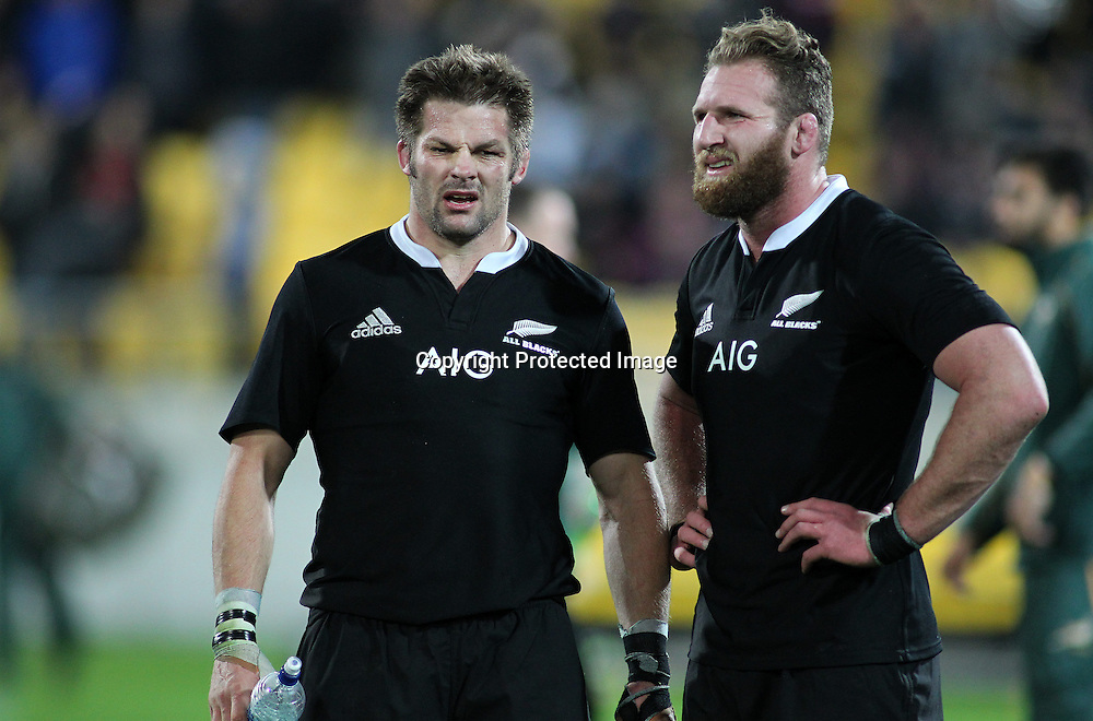 All Blacks' Richie McCaw & Kieran Read discuss the match following the final whistle. New Zealand All Blacks V South Africa.The Rugby Championship. Rugby Union Test Match. Westpac Stadium, Wellington. 13 September 2014. Photo.: Grant Down / www.photosport.co.nz