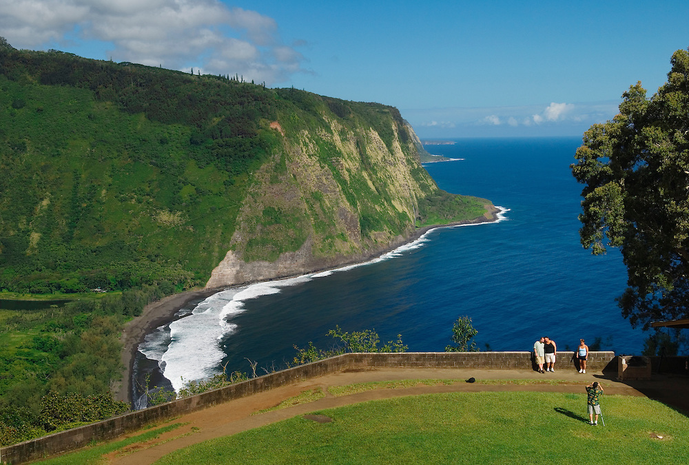 Visitors at Waipio Valley Lookout; Hamakua Coast, Island of Hawaii.