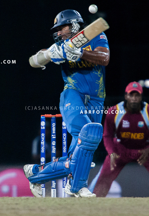 Sri Lankan Kumar Sangakkara batting during the World T20 Cricket Mens Final match between Sri Lanka Vs West Indies at the R Premadasa International Cricket Stadium, Colombo. Photo credit : Asanka Brendon Ratnayake