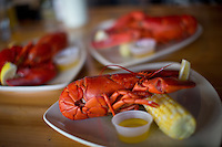 Maine lobsters and corn at The Slipway in Thomaston, Maine.