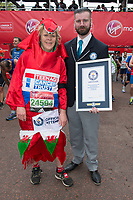 Guinness World Record  - Jayne Moreton (Fastest Marathon dressed as a Dragon). The Virgin Money London Marathon, 23rd April 2017.<br /> <br /> Photo: Joanne Davidson for Virgin Money London Marathon<br /> <br /> For further information: media@londonmarathonevents.co.uk