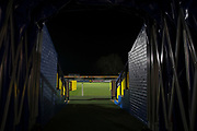 View of Kingsmeadow/ Cherry Red Records Stadium pitch from players tunnel during the EFL Sky Bet League 1 match between AFC Wimbledon and Burton Albion at the Cherry Red Records Stadium, Kingston, England on 28 January 2020.