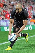 JP Pietersen touches down in the Sharks in goal area forcing a 5m scrum for the Reds during the Super 15 Rugby (Quarter Final) fixture between the Queensland Reds and the South Africa Sharks played at Suncorp Stadium (Brisbane) on Saturday 21st July 2012 ~ Editorial Use only in accordance with QRU Terms & Conditions ~ Photo Credit Required : Steven Hight / photosport.co.nz