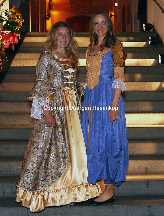 Nuernberger Versicherungscup 2014,WTA Tennis Tournament, Sandplatz Turnier in Nuernberg,Players Party im historischen Rathaus.<br /> L-R. Anna-Lena Friedsam und Mona Barthel (beide GER) im Barock Abendkleid,Ganzkoerper,Hochformat,