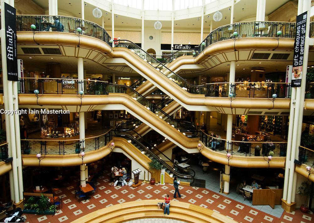 Interior of elegant historic upmarket Princes Square shopping mall in Glasgow Scotland
