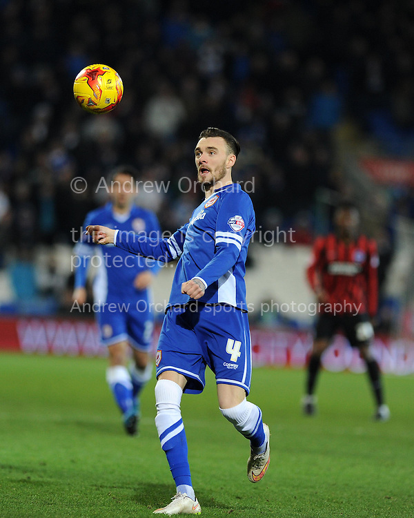 Scott Malone of Cardiff city in action. Skybet football league championship match, Cardiff city v Brighton &amp; Hove Albion at the Cardiff city Stadium in Cardiff, South Wales on Tuesday 10th Feb 2015.<br /> pic by Andrew Orchard, Andrew Orchard sports photography.
