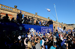 Leicester City's open top bus is mobbed by supporters - Mandatory by-line: Robbie Stephenson/JMP - 16/05/2016 - FOOTBALL - Leicester City FC, Barclays Premier League Winners 2016 - Leicester City Victory Parade