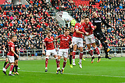 during the EFL Sky Bet Championship match between Bristol City and Leeds United at Ashton Gate, Bristol, England on 21 October 2017. Photo by Graham Hunt.