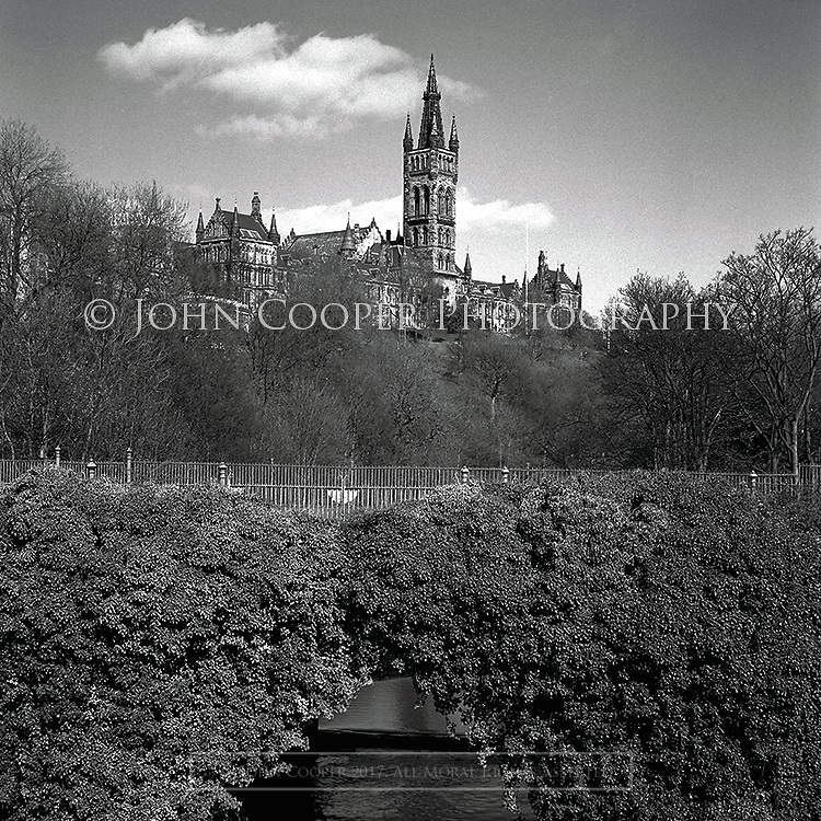 Black and white photograph of The University of Glasgow on Gilmorehill. Mounted print available to purchase.