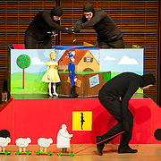 May 5, 2012 - New York, NY : Puppeteers Ursula Winzer, top left, Vladimir Fediakov, top right, and Philippe Nicolas Brunner, bottom, of the Salzburg Marionette Theater perform Claude Debussy's 'La boîte à joujoux (The Toy Box) (1913),' featuring pianist András Schiff, not pictured, at Zankel Hall on Saturday evening. CREDIT: Karsten Moran for The New York Times