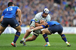 Leroy Houston of Bath Rugby takes on the Leinster defence - Photo mandatory by-line: Patrick Khachfe/JMP - Mobile: 07966 386802 04/04/2015 - SPORT - RUGBY UNION - Dublin - Aviva Stadium - Leinster Rugby v Bath Rugby - European Rugby Champions Cup