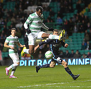 Celtic's Efe Ambrose clears with Dundee's Jim McAlister lurking - Celtic v Dundee, SPFL Premiership at Celtic Park<br /> <br />  - &copy; David Young - www.davidyoungphoto.co.uk - email: davidyoungphoto@gmail.com