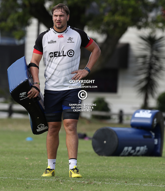 Etienne Oosthuizen  during The Cell C Sharks training session at Growthpoint Kings Park in Durban, South Africa. 4th May 2017(Photo by Steve Haag)<br /> <br /> images for social media must have consent from Steve Haag