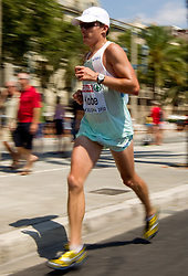 Primoz Kobe of Slovenia competes in the Mens Marathon during day six of the 20th European Athletics Championships at the roads of city Barcelona on August 1, 2010 in Barcelona, Spain. (Photo by Vid Ponikvar / Sportida)