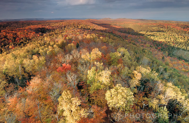 Sawtooth mountains aerial view with autumn foliage;  Grand Portage, Minnesota.