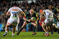 Dan Cole of Leicester Tigers, playing his first game for nine months in possession - Photo mandatory by-line: Patrick Khachfe/JMP - Mobile: 07966 386802 09/11/2014 - SPORT - RUGBY UNION - Leicester - Welford Road - Leicester Tigers v Sale Sharks - LV= Cup