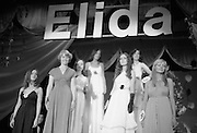 """Miss Elida"" Final At Mosney, Co Meath..1976..01.09.1976..09.01.1976..1st September 1976..The final of the ""Miss Elida"" lovely hair competition was held in The Gaiety Theatre,Butlins Holiday Centre,Mosney,Co Meath tonight. The competition is sponsored by Lever Bros,Sheriff St,Dublin. The shows compere was Mr Mike Murphy..Picture shows the final group on stage awaiting the announcement of the winner of The Miss Elida competition."