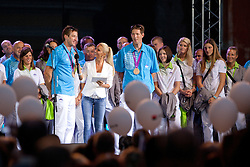 Iztok Cop and Luka Spik with Anja Bohinc during reception of Slovenian Olympic Team at Kongresni Trg when they came back from London after Summer Olympic games 2012, on August 14, 2012 in Center of Ljubljana, Slovenia (Photo by Matic Klansek Velej / Sportida.com)