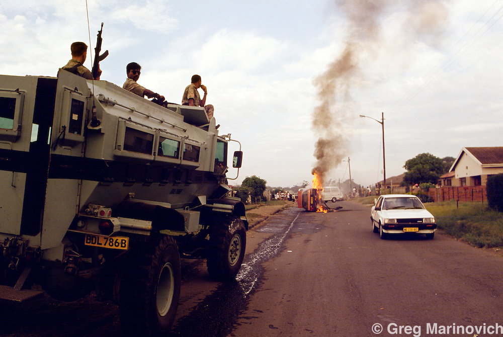 KwaMashu township, KwaZulu Natal, Durban, South Africa. Police armoured vehicle Casspir duringclashes between African National Congress and Inkatha Freedom Party supporters, 1994.