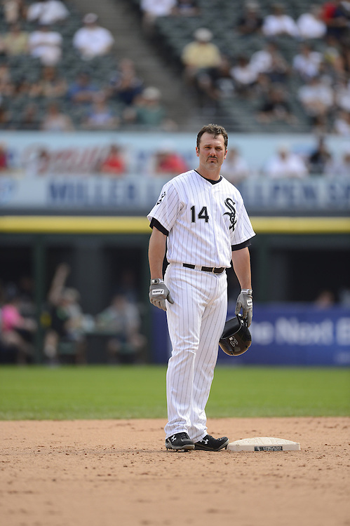 CHICAGO - SEPTEMBER 05:  Paul Konerko #14 of the Chicago White Sox looks on against the Minnesota Twins on September 05 , 2012 at U.S. Cellular Field in Chicago, Illinois.  The White Sox defeated the Twins 6-2.  (Photo by Ron Vesely)  Subject:    Paul Konerko