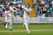 Wicket - Craig Overton of Somerset celebrates taking the wicket of Samit Patel of Nottinghamshire during the Specsavers County Champ Div 1 match between Somerset County Cricket Club and Nottinghamshire County Cricket Club at the Cooper Associates County Ground, Taunton, United Kingdom on 10 June 2018. Picture by Graham Hunt.