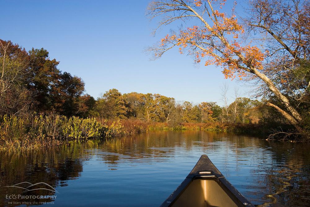 Paddling in the Ipswich River in Ipswich Massachusetts USA