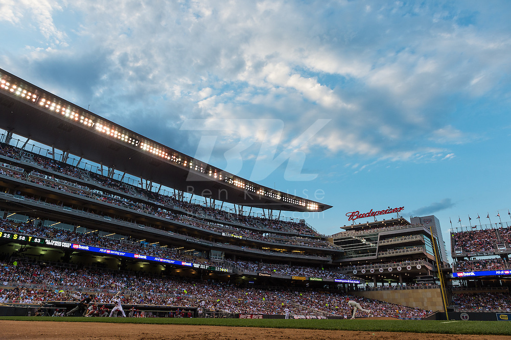 A view of the Target Field as Cole Hamels #35 of the Philadelphia Phillies pitches to Jamey Carroll #8 of the Minnesota Twins on June 11, 2013 in Minneapolis, Minnesota.  The Twins defeated the Phillies 3 to 2.  Photo: Ben Krause
