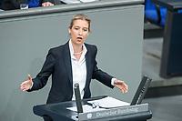 21 MAR 2019, BERLIN/GERMANY:<br /> Alice Weidel, AfD Fraktionsvorsitzende, haelt eine Rede, Bundestagsdebatte zur Regierungserklaerung der Bundeskanzlerin zum Europaeischen Rat, Plenum, Deutscher Bundestag<br /> IMAGE: 20190321-01-103