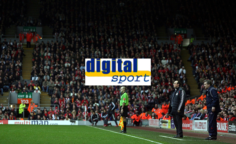 Photo: Paul Thomas.<br /> Liverpool v Sheffield United. The Barclays Premiership. 24/02/2007.<br /> <br /> Managers Rafael Benitez (L) of Liverpool and Sheffield's Neil Warnock watch on.