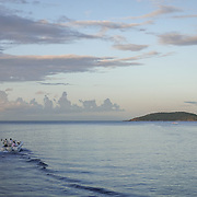CULEBRA,  PUERTO RICO -- FEBRUARY 3, 2019: <br /> A small fishing boat on the island of Culebra, next to Vieques, ride the 6AM boat from Ceiba. The ride takes 30 minutes,<br /> (Photo by Angel Valentin)