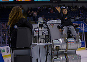 KELOWNA, CANADA - OCTOBER 04:  Orchard Park Junior Zamboni Rider at the Kelowna Rockets game on October 04, 2017 at Prospera Place in Kelowna, British Columbia, Canada.  (Photo By Cindy Rogers/Nyasa Photography,  *** Local Caption ***