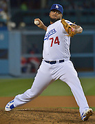 Los Angeles Dodgers relief pitcher Kenley Jansen #74 in the 9th inning. The Los Angeles Dodgers defeated the Cincinnati Reds 3- at Dodger Stadium in Los Angeles , CA.  May 25, 2016. (Photo by John McCoy/Southern California News Group
