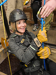 Royal Marines abseil down BT Tower. the BT Tower, London, United Kingdom. Embargoed until Monday, 17th February 2014. Picture by Anthony Upton / i-Images<br /> <br /> TV presenter Helen Skelton during the training at the Castle Climbing centre, in north London ahead of the first ever charity abseil down BT Tower will take place on 10 March to raise money for Sport Relief and the Royal Marines Charitable Trust Fund using BT's MyDonate online fundraising site.<br /> <br /> The event will also kick off a year of celebrations for the 350th anniversary of the Royal Marines, during which the Royal Marines Charity Trust Fund (RMCTF) aim to raise £6million