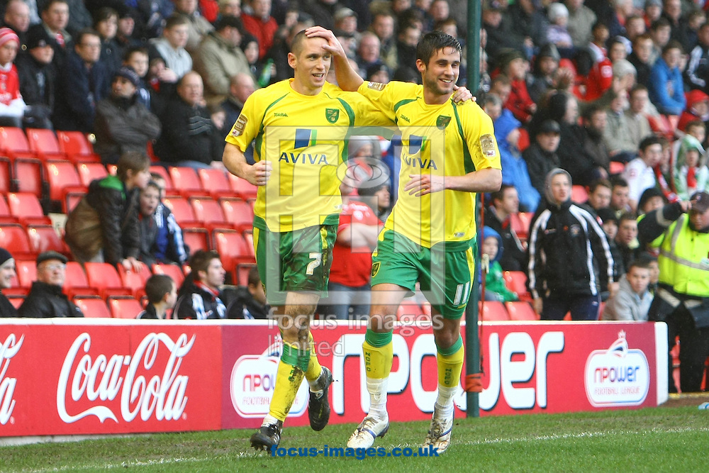 Barnsley - Saturday February 26th, 2011: Andrew Crofts of Norwich scores his sides 1st goal and celebrates during the Npower Championship match at The Oakwell Stadium, Barnsley. (Pic by Paul Chesterton/Focus Images)