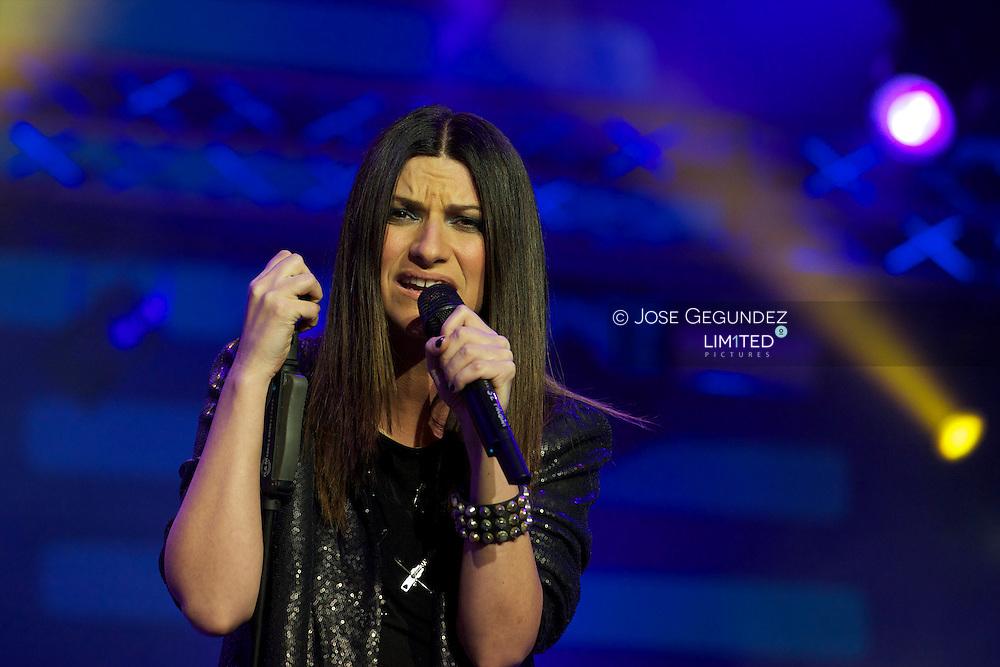 Laura Pausini performs during Cadena Dial Awards 2011 at Adan Martinez Auditorium in Tenerife, Spain