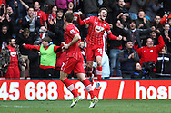 Picture by Daniel Chesterton/Focus Images Ltd +44 7966 018899.16/03/2013.Rickie Lambert of Southampton celebrates scoring his side's second goal with Adam Lallana of Southampton during the Barclays Premier League match at the St Mary's Stadium, Southampton.