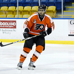 Whitby, ON - Feb 11 : Ontario Junior Hockey League game action between the Whitby Fury and the Orangeville Flyers. Orangeville Flyers #16 Thanvir Bandesha during second period game action.<br /> (Photo by Tim Bates / OJHL Images)