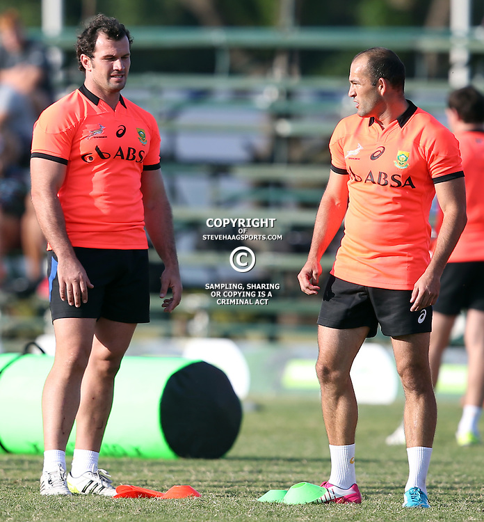DURBAN, SOUTH AFRICA - MAY 26: Bismarck du Plessis of the (Cell C Sharks) with Fourie du Preez of the (Suntory, Japan) during the Springbok training and media session at Northwood High School on May 26, 2014 in Durban, South Africa. (Photo by Steve Haag/Gallo Images)