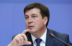 June 15, 2018 - Kyiv, Ukraine - Vice Prime Minister - Minister of Regional Development, Construction, Housing and Communal Services of Ukraine Hennadii Zubko attends the presentation of a report of the Organisation for Economic Co-operation and Development (OECD) on the progress of implementation of decentralisation in Ukraine, Kyiv, capital of Ukraine, June 15, 2018. Ukrinform. (Credit Image: © Danil Shamkin/Ukrinform via ZUMA Wire)