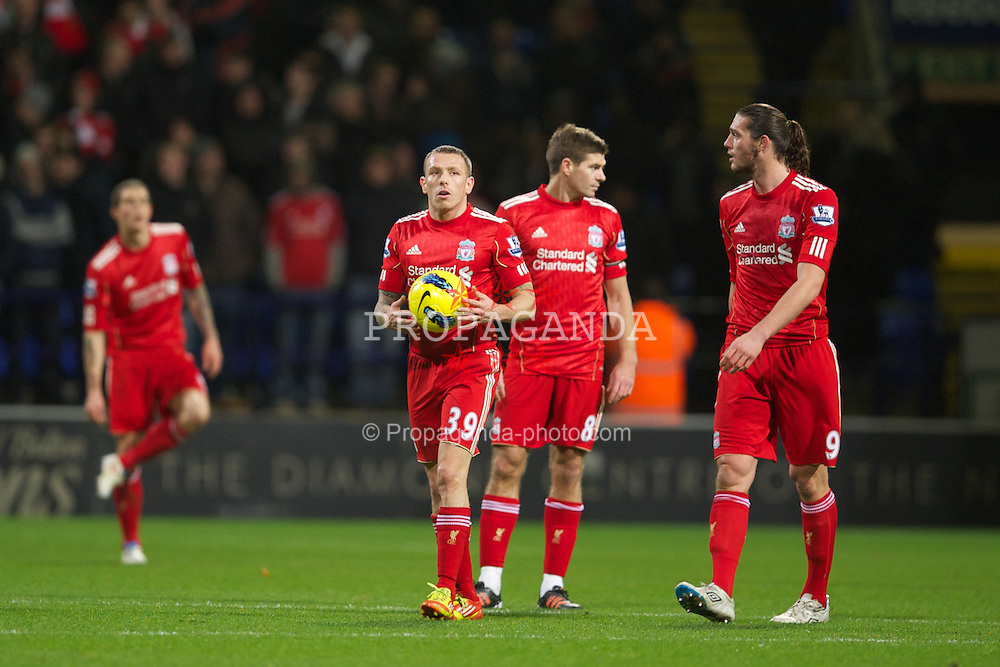 BOLTON, ENGLAND - Saturday, January 21, 2011: Liverpool's Craig Bellamy looks dejected as Bolton Wanderers score the third goal during the Premiership match at the Reebok Stadium. (Pic by David Rawcliffe/Propaganda)