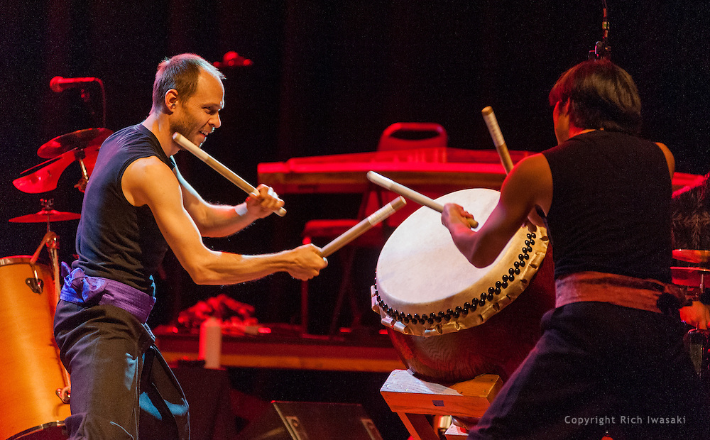 "Members of On Ensemble perform during Portland Taiko ""Making Waves 2013"" concert, Aladdin Theater, Portland, Oregon"