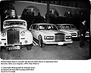 Parked Rolls Royces outside the Beverly Hills Hotel re-Opening Party.Beverley Hills. Los Angeles. 1995. Film 9565/12<br />