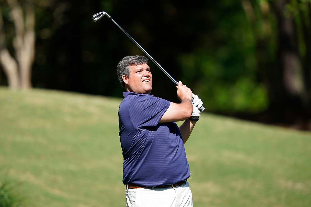 Ole Miss head football coach Matt Luke tees off during the Chick-fil-A Peach Bowl Challenge at the Ritz Carlton Reynolds, Lake Oconee, on Tuesday, April 30, 2019, in Greensboro, GA. (Paul Abell via Abell Images for Chick-fil-A Peach Bowl Challenge)