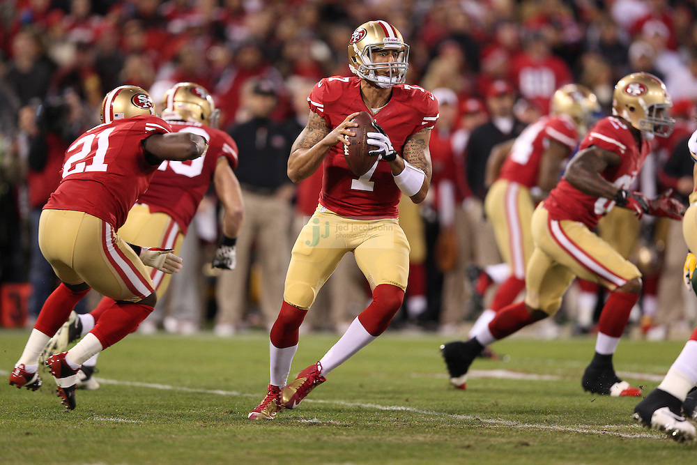 San Francisco 49ers quarterback Colin Kaepernick (7) passes during a NFL Divisional playoff game against the Green Bay Packers at Candlestick Park in San Francisco, Calif., on Jan. 12, 2013. The 49ers defeated the Packers 45-31. (AP Photo/Jed Jacobsohn)
